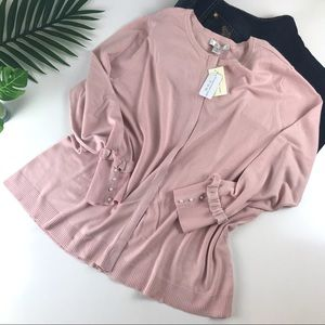 CJ Banks Pearl Pink Button Up Sweater 2X